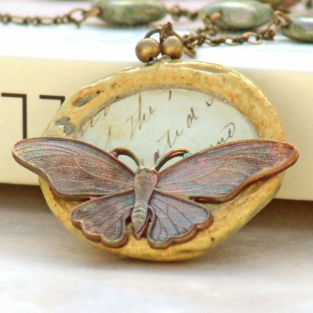 Butterfly Poems Necklace Gemstone Rhyolite by Catherine Jeltes of galleryzooartdesigns on Etsy from etsy.com