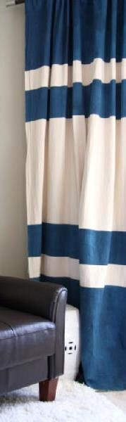 Pair of color block linen curtain panels, drapes, 54 x 96 inches, off white, blue, multi section - kirtamdesigns
