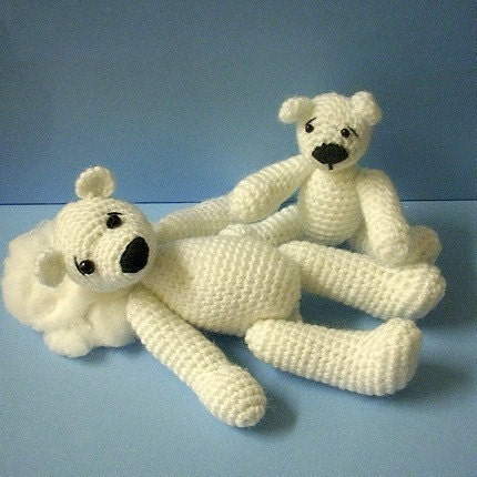 PDF Crochet Pattern - Mommy Polarbear and her Baby