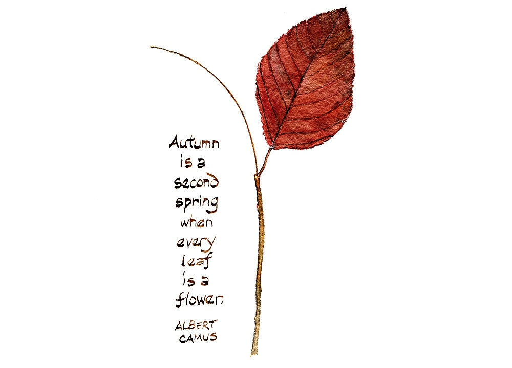 Autumn Leaf and Quote Watercolor Painting - Art Print, Autumn Leaves, Fall Foliage, Albert Camus, Hand Lettering, Leaf Painting, Leaf Print - trowelandpaintbrush