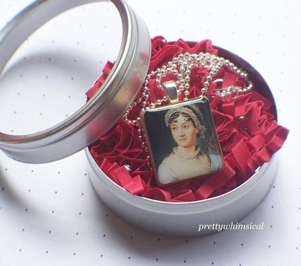 jane austen jewelry scrabble tile pendant
