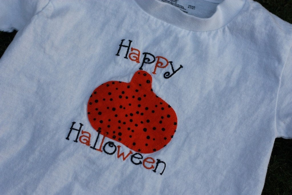 SALE Happy Halloween black and orange Pumpkin applique embroidered shirt 2T/3T
