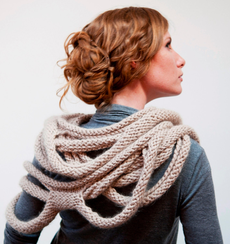 Medusa Loop Scarf - hand knitting pattern PDF - RubySubmarine