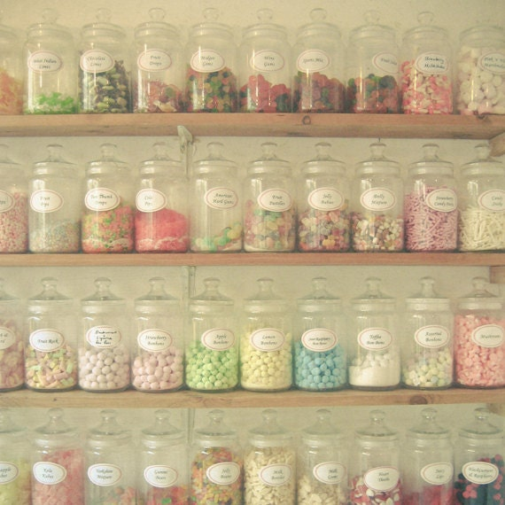 Food Photography, Candy Art, Pastels, Neutral Colors, Kitchen Decor, Nursery Art, Little Girls Room, Colorful Wall Art - Sweet Shop - LolasRoom