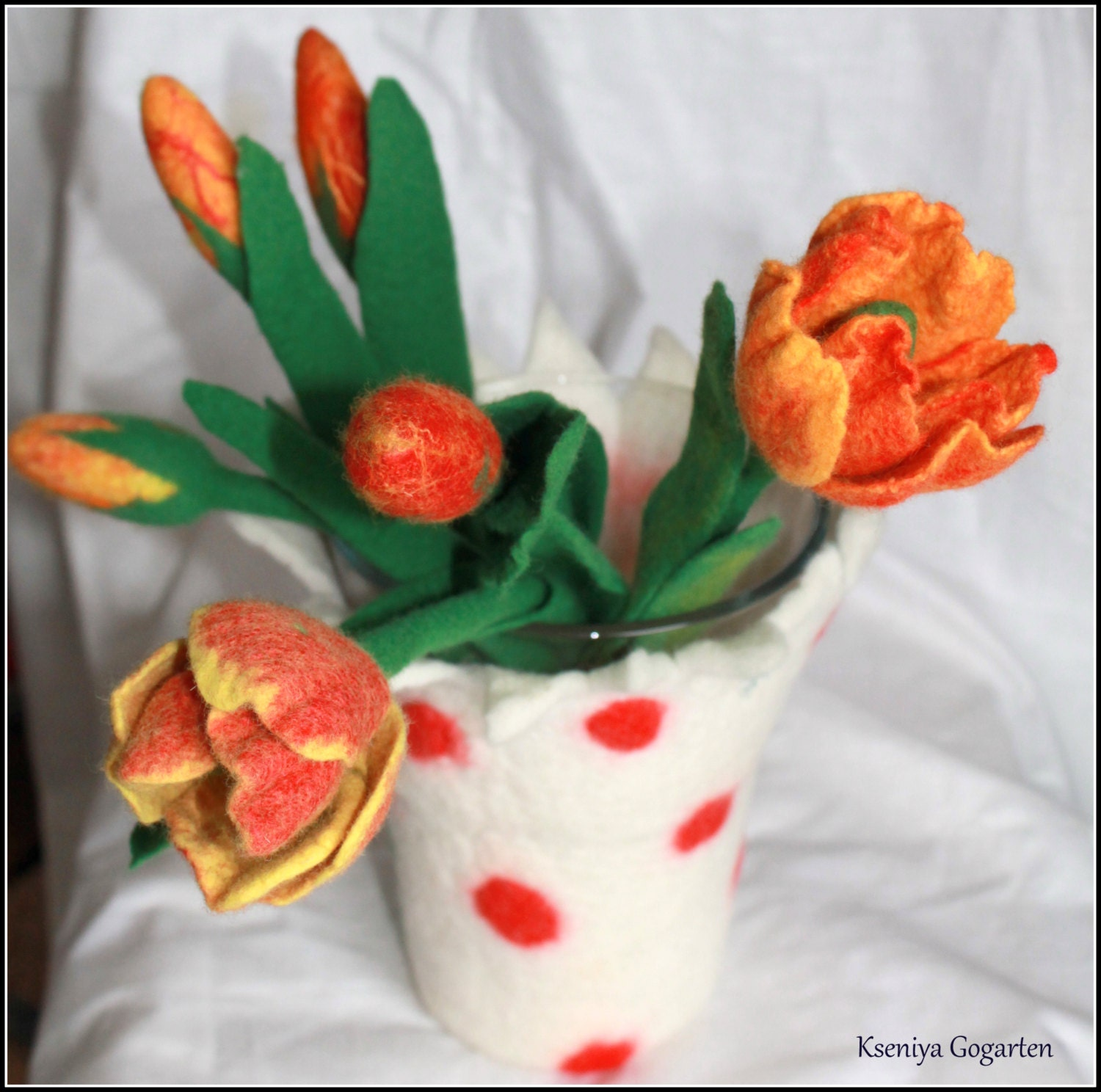 Tulip felt Wool Flowers Easter Decor handmade