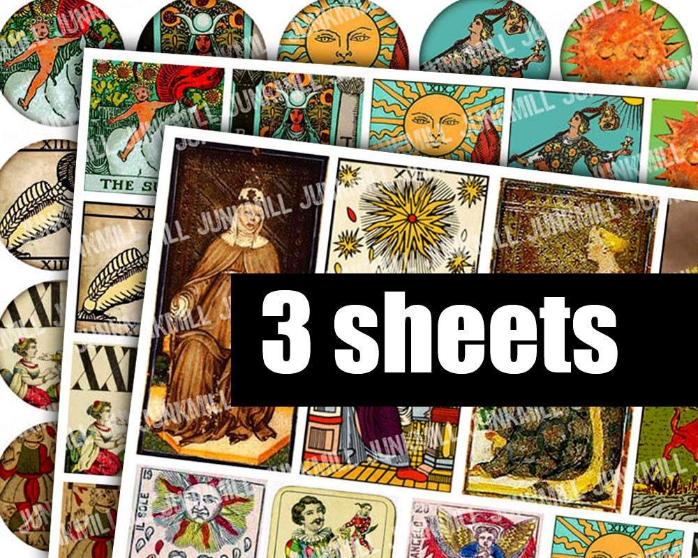 medieval tarot digital printable collage sheets by junkmill