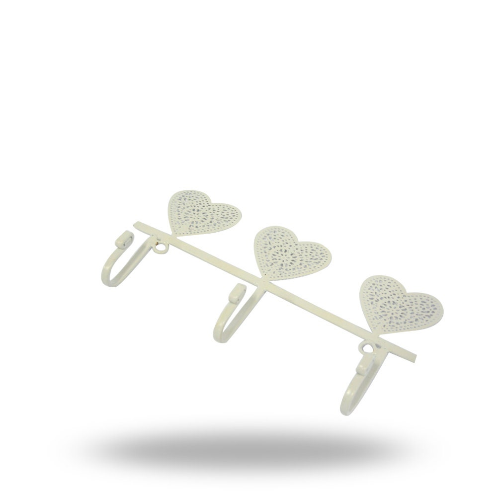 Functional Wall Art for any Dcor Unique White Iron Wall Hangers with Heart Design Decorative 3 Hook Coat Rack Key Holder or Towel Hanger