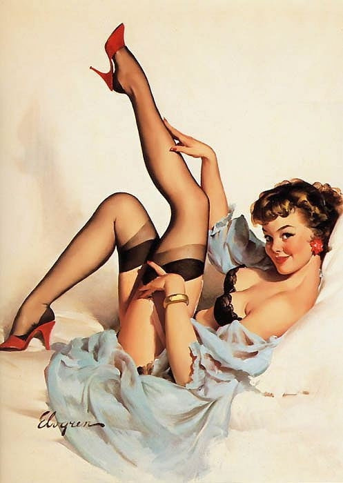 "Free US shipping Stylish Handprinted Cotton Art Reproduction Applique Vintage Sexy Pin-up Girl Gil Elvgren, ""Sheer comfort"", 1959"