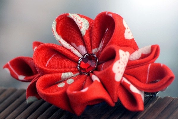 Fruit Punch Ume - Kanzashi Flower Barrette Hair Clip