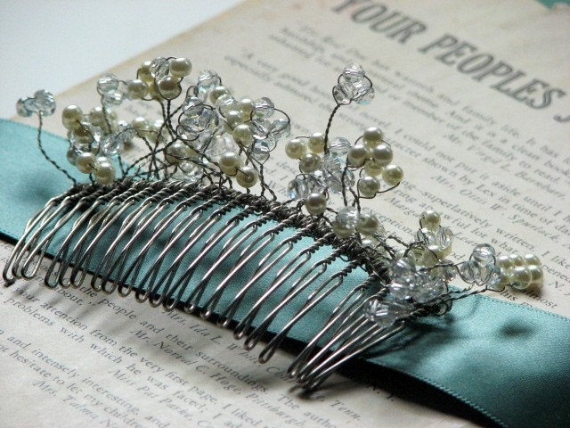 Hand Beaded Clusters Wedding Hair Clip with Swarovski Crystals and Pearls