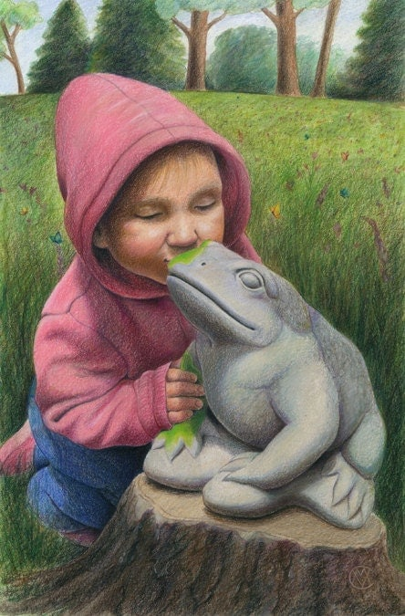 "A little girl in pink kisses a stone garden frog, he starts to come to life - Art Reproduction (Print) - ""You've Gotta Kiss a lot of Frogs"" - CaryeVDPMahoney"