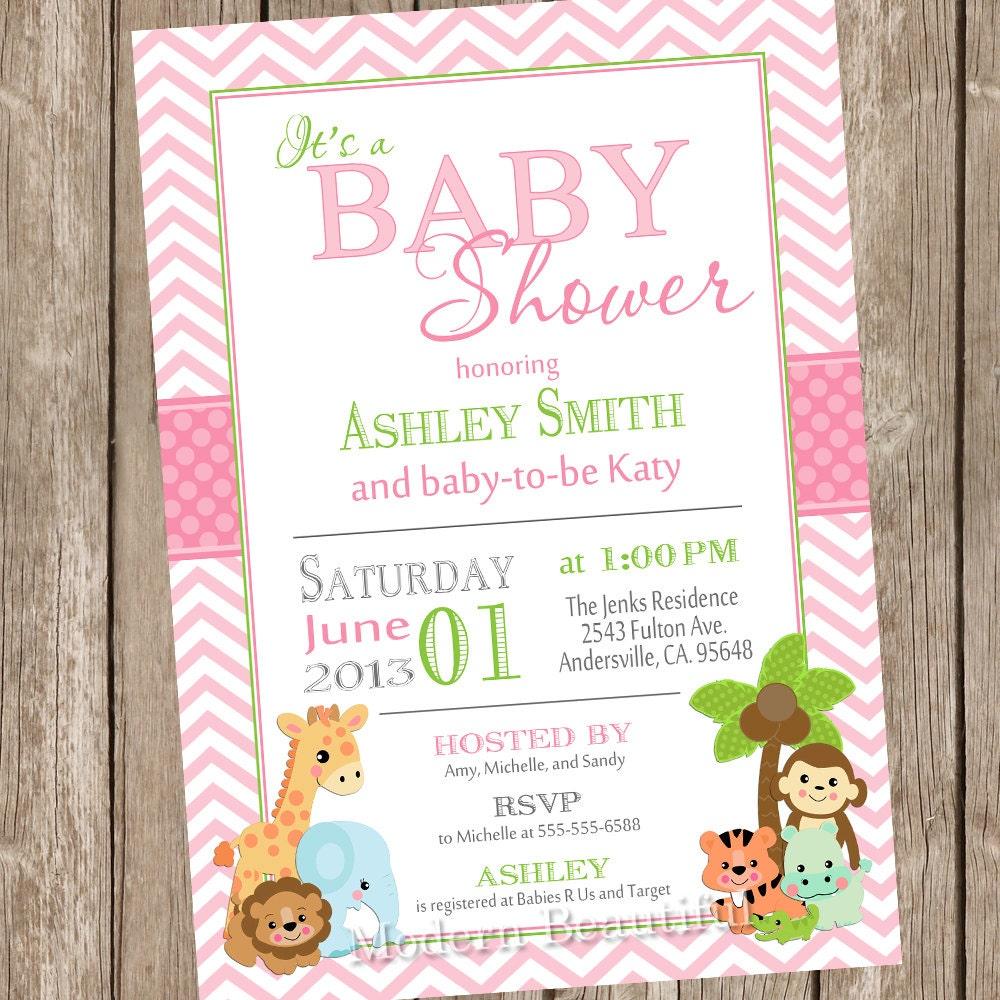 Safari Baby Shower Invitation: Girl Jungle Baby Shower Invitation Jungle By ModernBeautiful