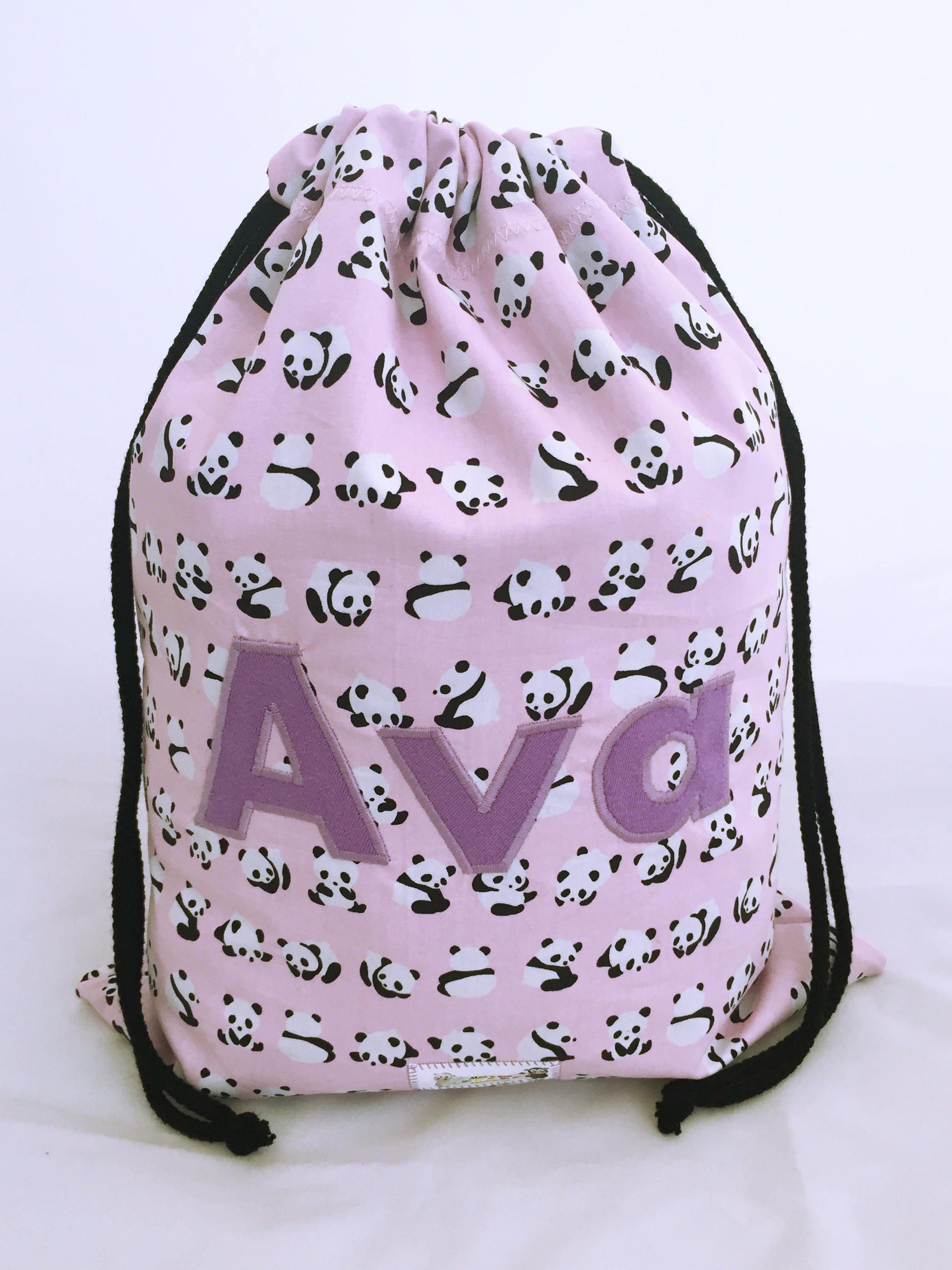 Childrens Personalised Bag Waterproof Backpack PE Bag Swim Bag Panda Bears Named School Bag Nursery Bag Water Resistant Bag