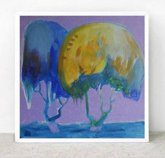 "Original Painting   .Free Shipping  """"Purple day"""" - ARTGALERYPAINTING"
