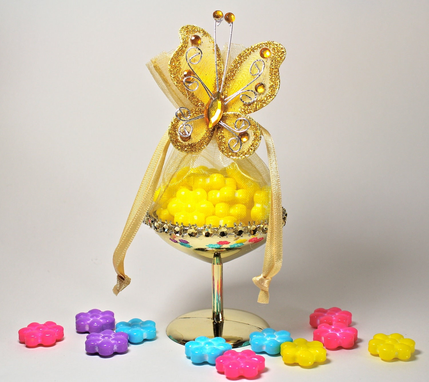 Wedding Gift Cocktail Glasses : Items similar to Martini Glass Favor, Yellow Wedding Favors, Candy ...