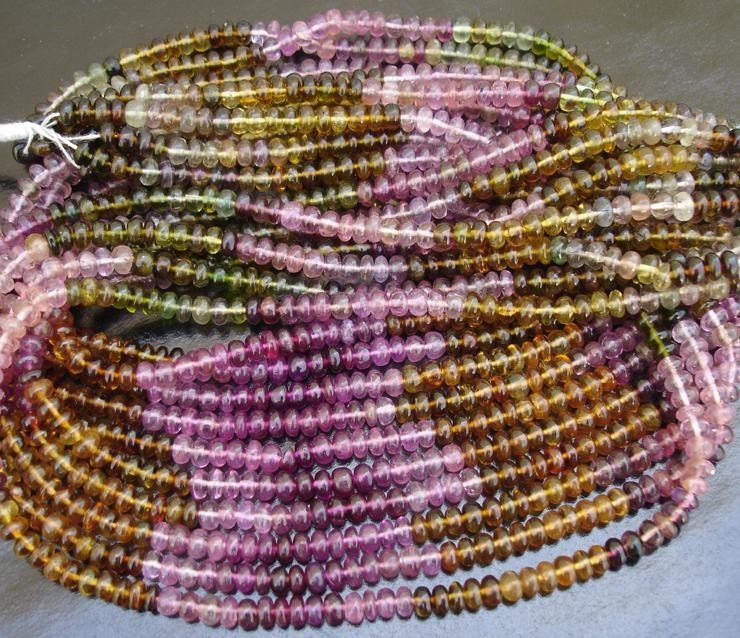Lovely MULTI COLOUR Tourmaline SMOOTH rondelles,UNIQUE RARE COLOURS 15 inches 4-mm