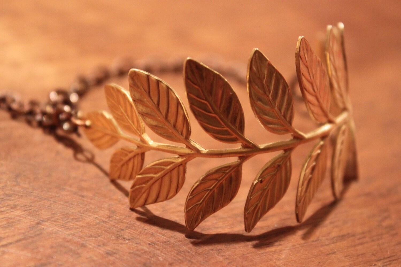 Branch of Leaves Bracelet-raw brass