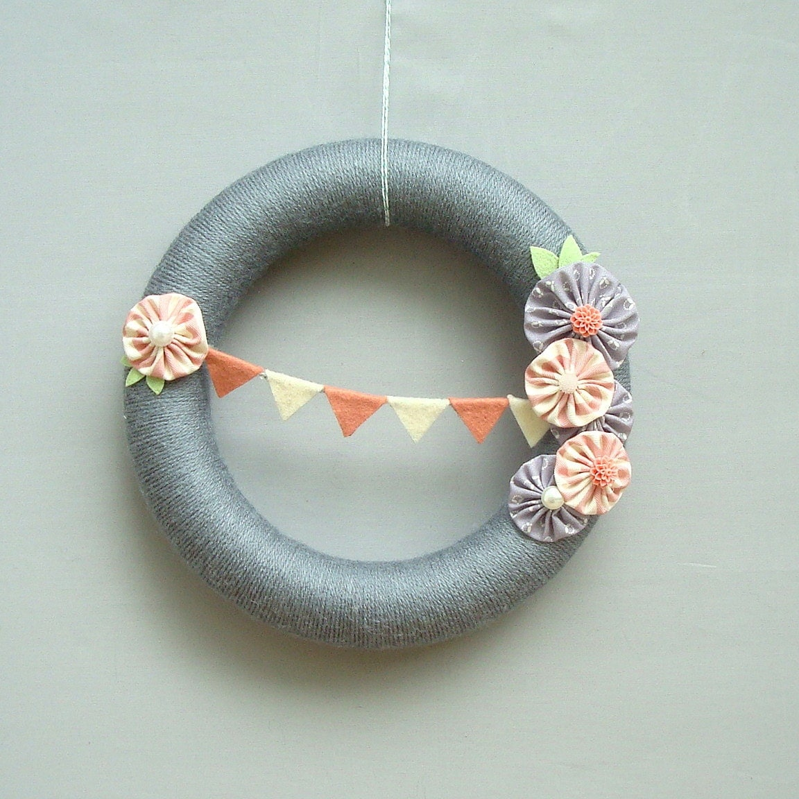 "Grey Yarn wreath.  Cream and pink with gray felt oatmeal fabric flowers and blush.  10 ""wreath is ideal for children's decor girl."