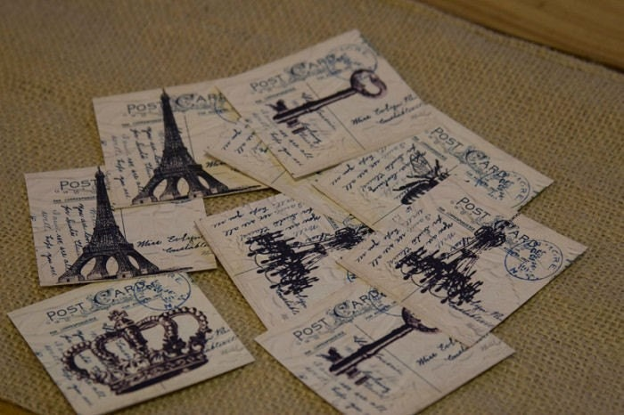 Pack of 10 Mini Crown, Skeleton Key, Eiffel Tower, Paris Tags