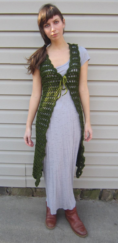 Green crochet vest midi length vest vintage gypsy by ...