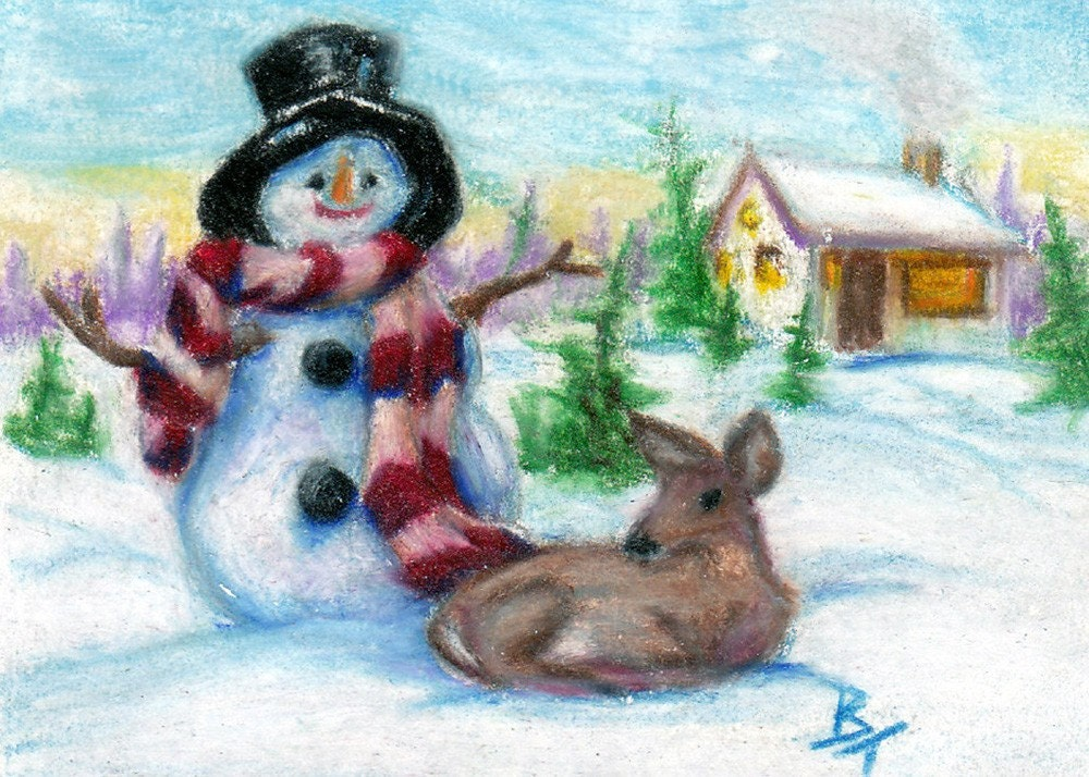 Mr. Snowman Original aceo