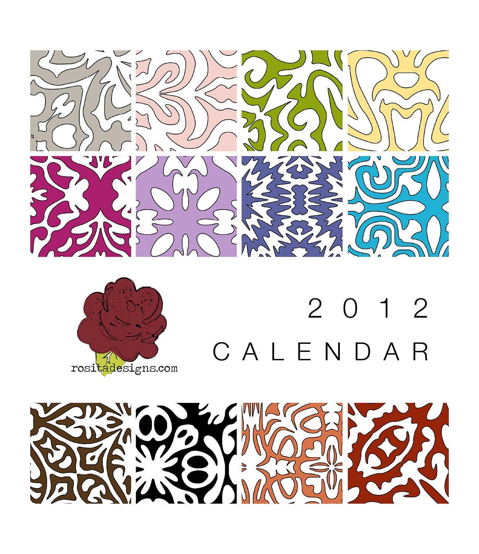 2012 desktop CD calendar - colorful modern graphic - rosita designs