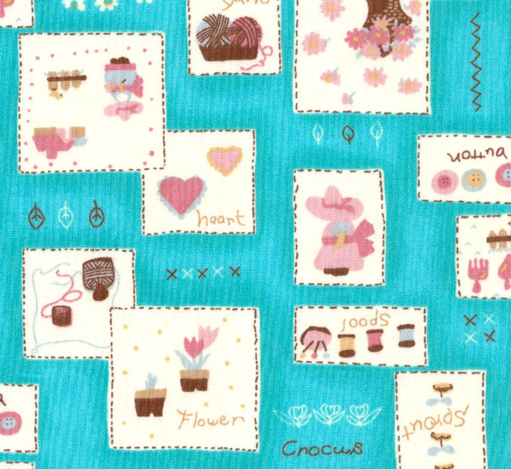 Japanese Fabric - Favourite Things Patchwork Blue Half Yard Kawaii
