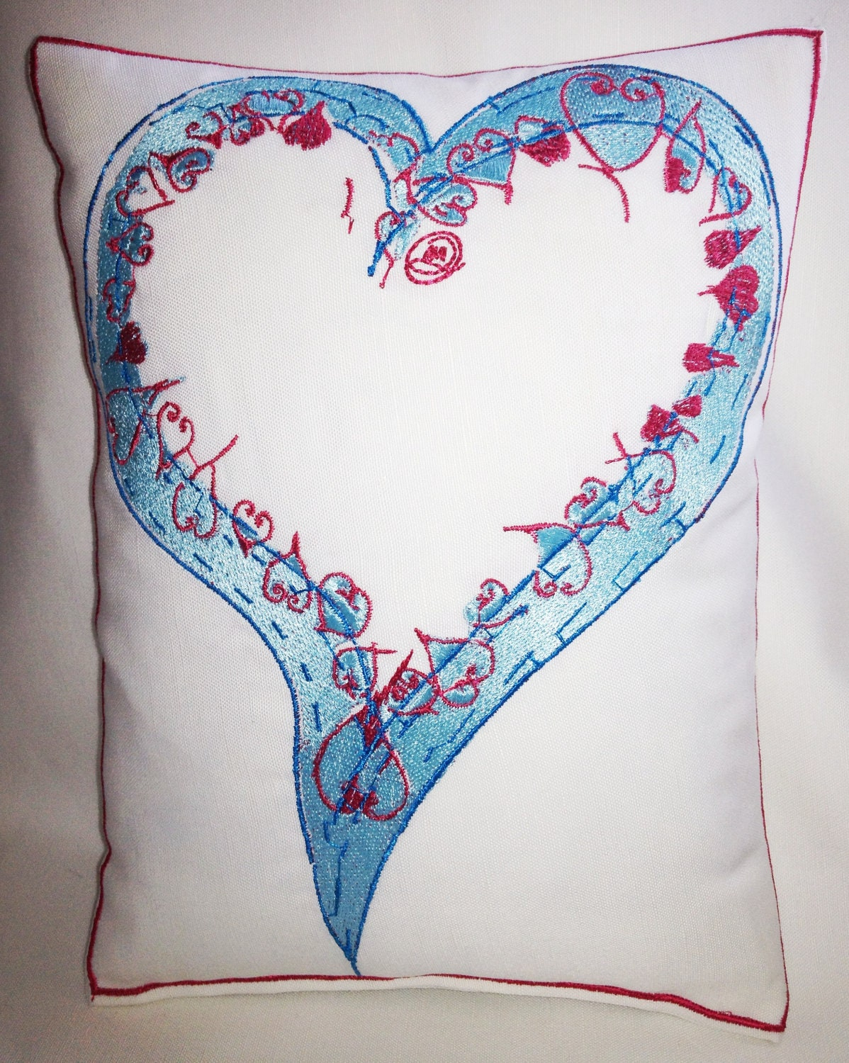 Love Heart, Artistic Embroidery - Throw Cushion
