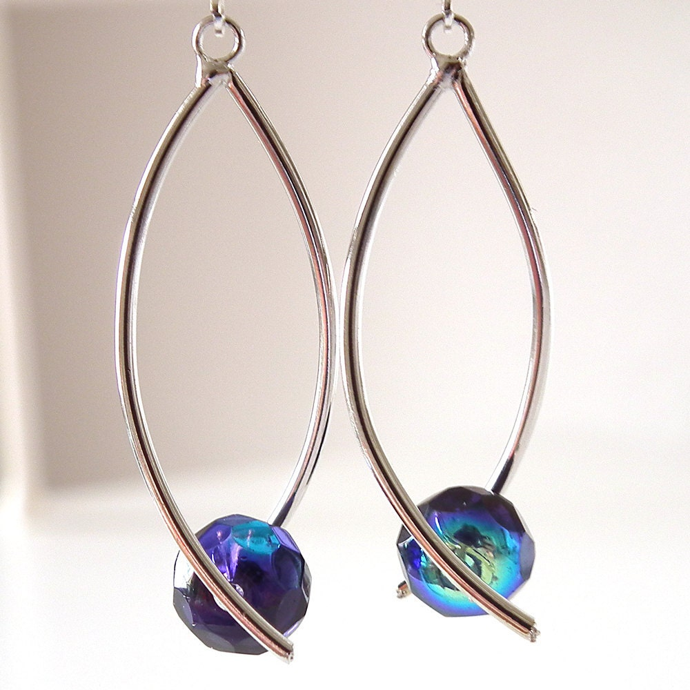 Dark Purple Crystals on Contemporary Modern Silver Plated Earrings