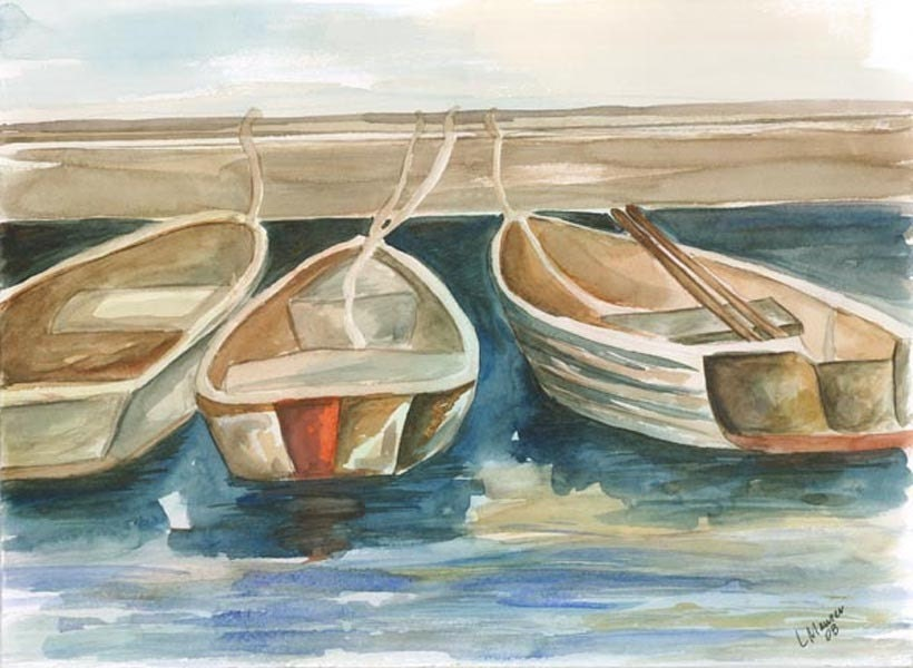 Print - Watercolor Painting - Three in a Row - 10x13