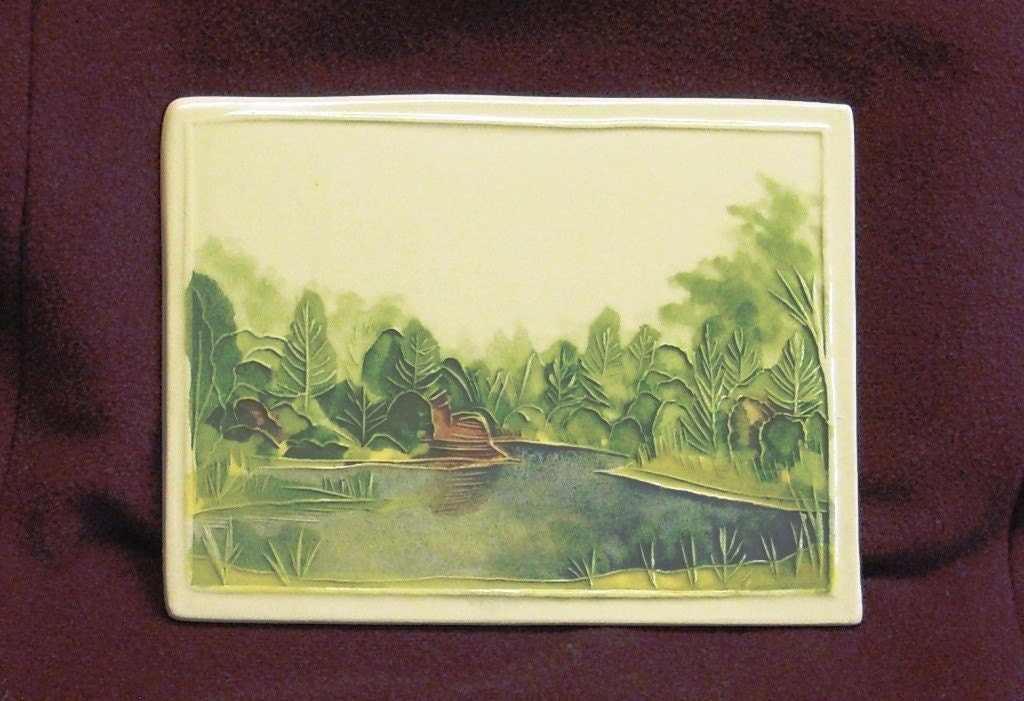 Mystery Lake-Summer tile handmade Original design by Wisconsin ceramic watercolor artist