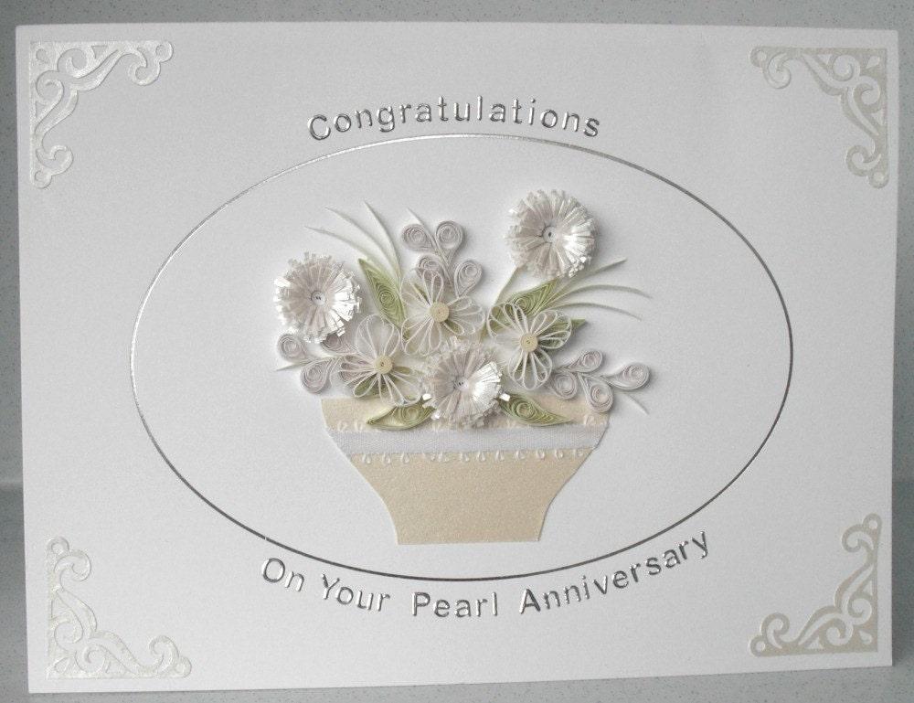 Бумага гофрированный карт, 30 свадебный юбилей жемчужина, рюш цветы, открытки ручной работы