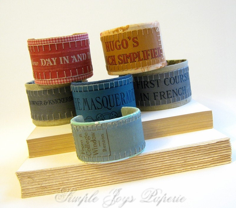 Vintage French Book Cover Cuff Bracelet - Hugo's French Simplified