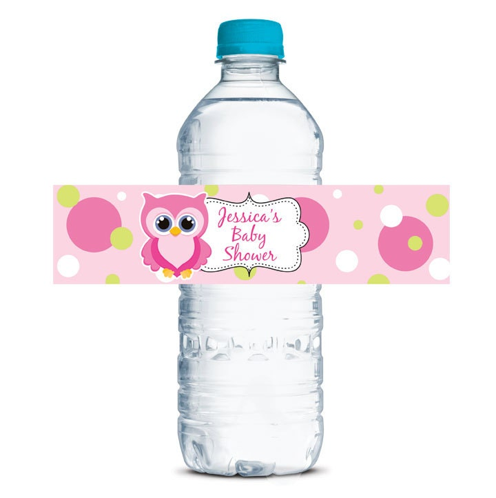 custom water bottle labels baby shower waterproof girl owls pink