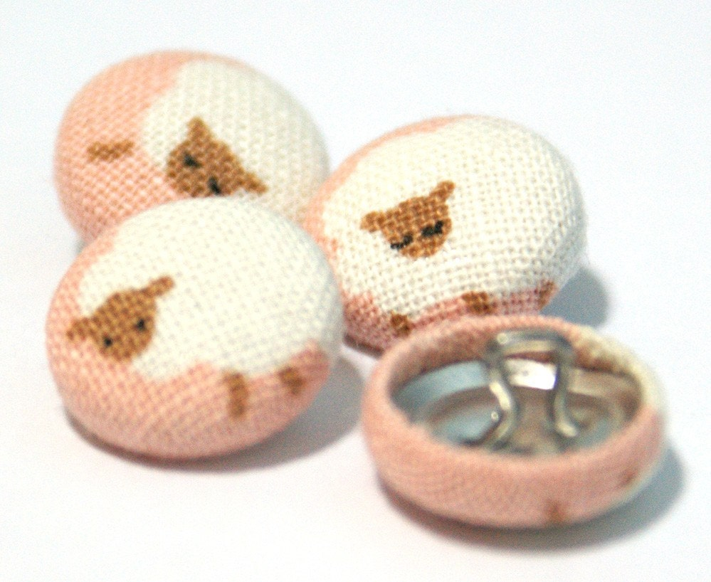 Adorable Tiny White Sheep on Pink- Mini Fabric Sew On Buttons