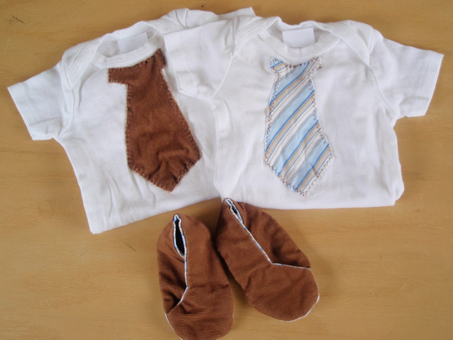 Brown corduroy and blue striped onesies with matching shoes set