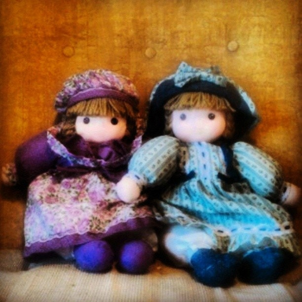 Pair of Holly Hobbie Style Soft Body Dolls - Cute Country Cottage Decor - EmilysCraftys