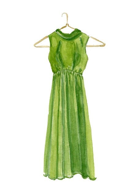 Original Watercolor Painting of a Bright Green Gown - marycatherinestarr