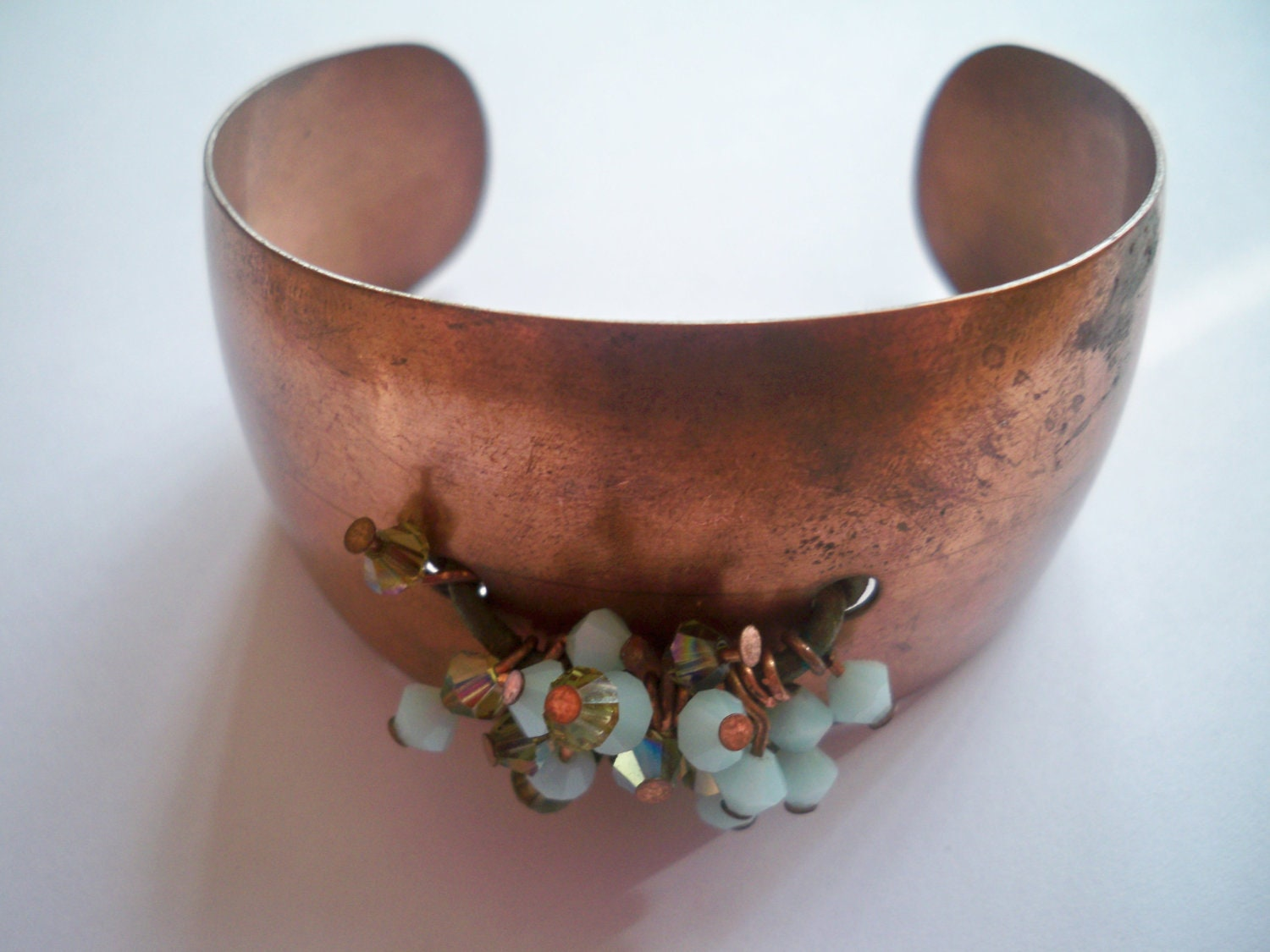 Copper and Crystal Beaded Cuff Bracelet - Specially Priced - eclecticnesting