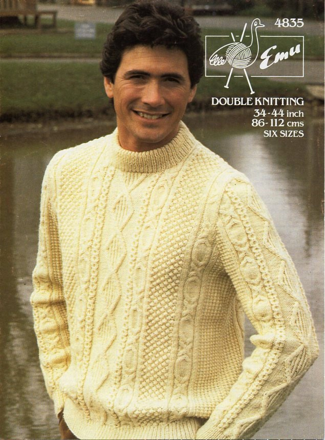 mens aran sweater knitting pattern pdf mens aran jumper crew neck 3444 DK light worsted 8 ply mens aran knitting pattern pdf download