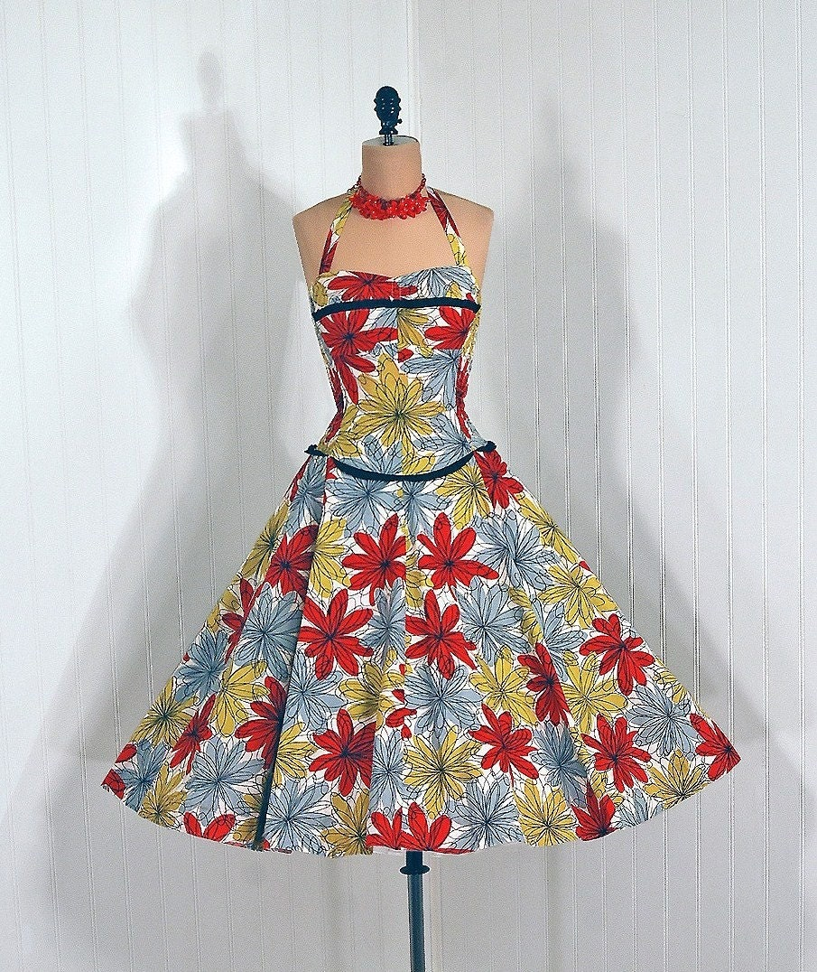 Reserved for Harlow 1950's Vintage Colorful Atomic-Floral Print Novelty Designer-Couture Sweetheart Shelf-Bust Halter Rockabilly Nipped-Waist Bombshell Circle-Skirt Wedding Garden Party Cocktail Cotton Sun Dress