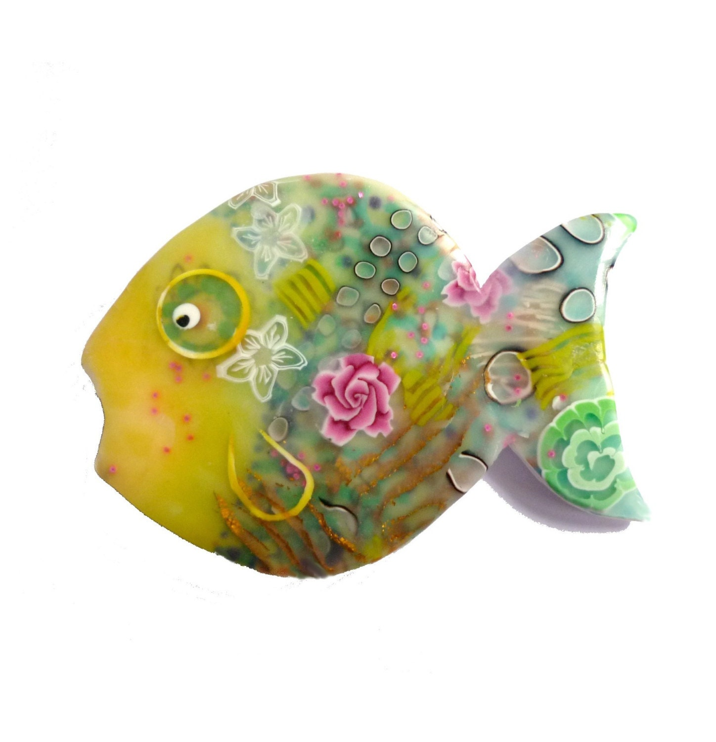 Brooch - ANDREAS the FISH - one of a kind - polymer clay - with pink ROSES - Chifonie