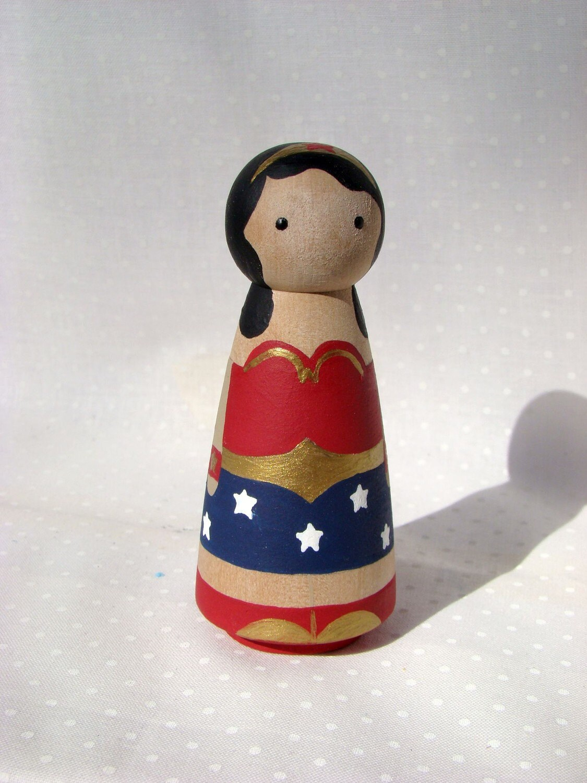 Wonder Woman - Hand Painted Wood Peg