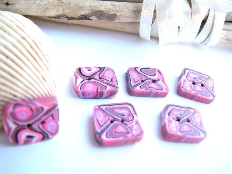 Buttons pink, purple, white and black square - set of 6 abstract buttons