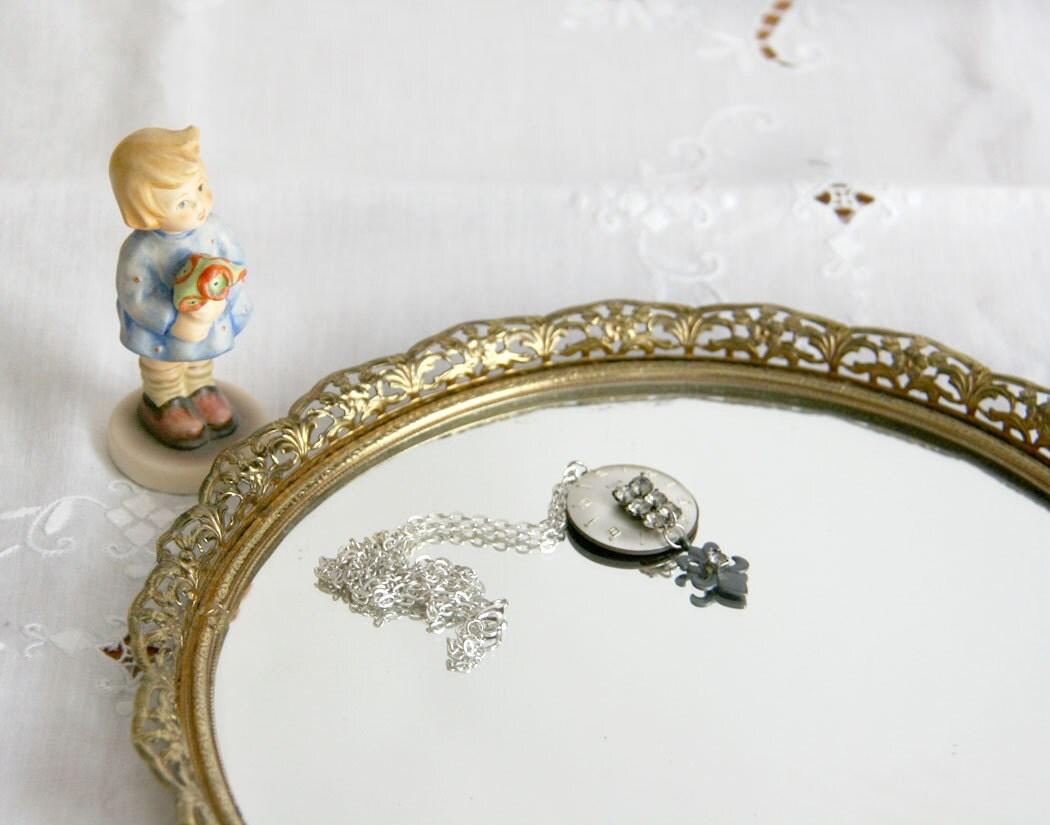 vintage vanity mirror gold tone filigree edge by