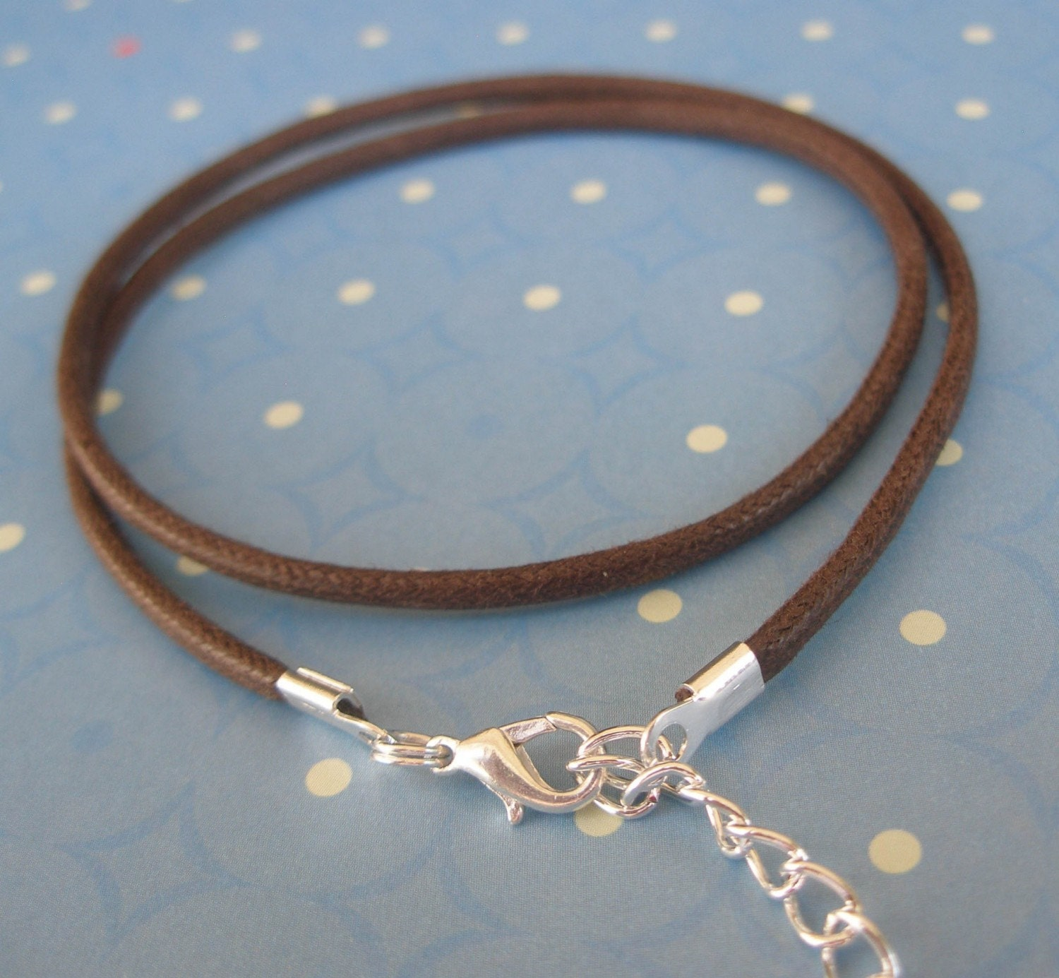 6 - Brown Waxed Cotton Necklace Cords - Heavy Duty Any length - Use with Lg Pendants, Slider beads, Pandora or Lg Bails