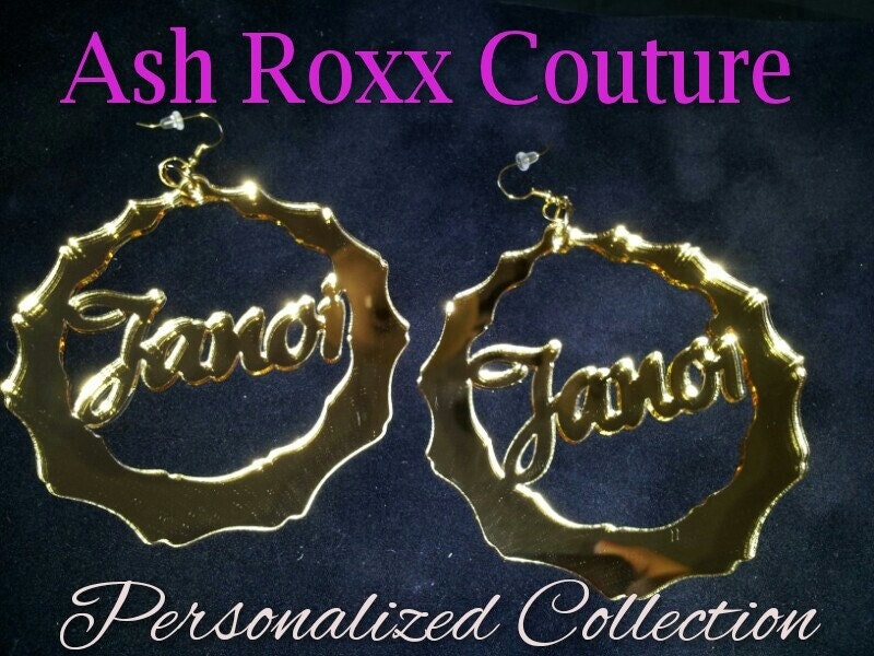 PERSONALIZED Basketball Wives LA Laser Cut MIRROR Bamboo Earrings as Seen on Bambi