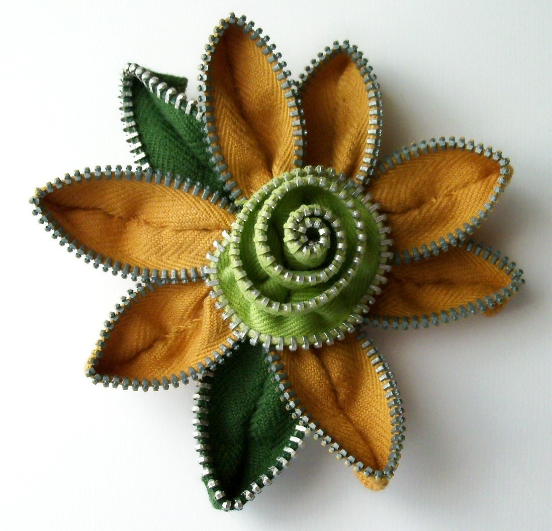 Old Gold and Chartreuse Floral Brooch / Zipper Pin - Approx 3.25 in/ 8.5 cm - by ZipPinning - 1626