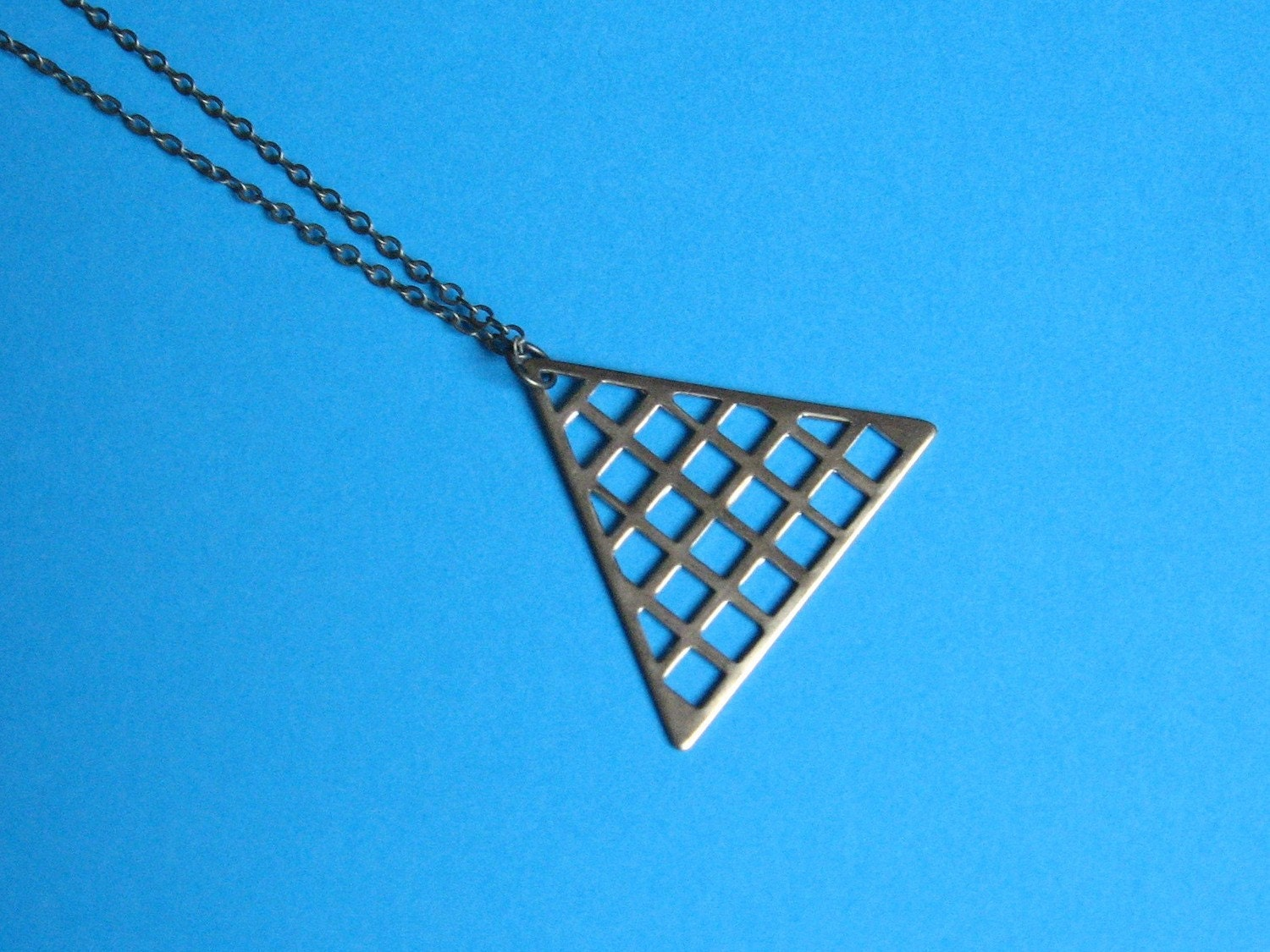 Pretty Grid Triangle Necklace -Ready to Ship
