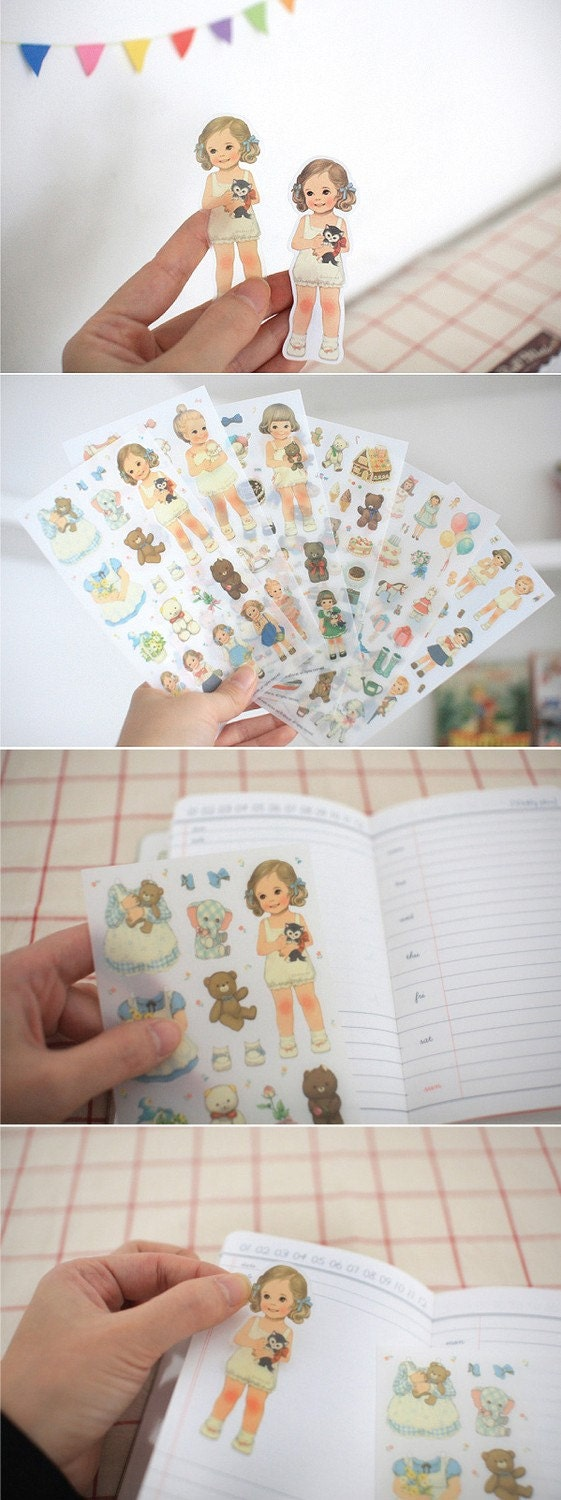 Paper doll mate sticker set - transparent sticker